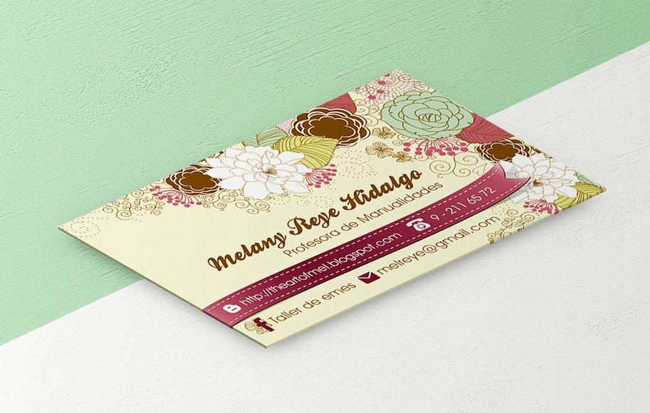 Diseño de tarjetas de presentación Profesora Manualidades