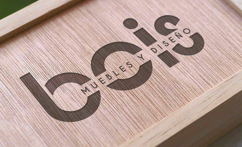 Diseño de logo muebleria Bois madera