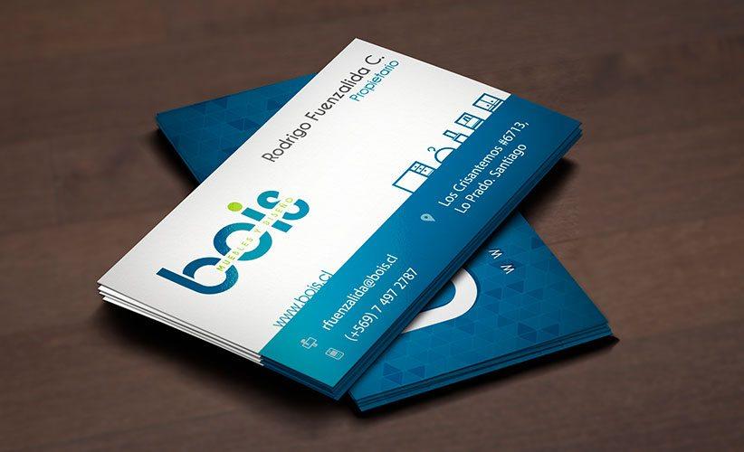 Diseño de tarjetas de presentación muebleria Bois