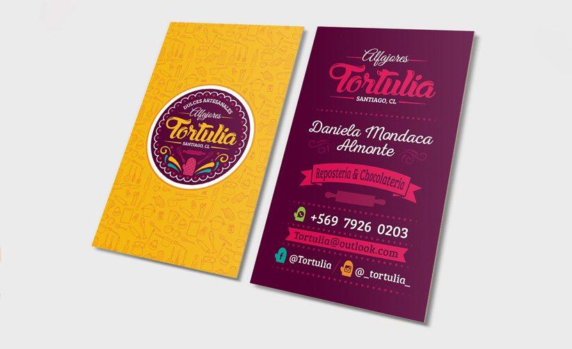 Diseño de tarjetas de presentación pastelería reposteríaTortulia