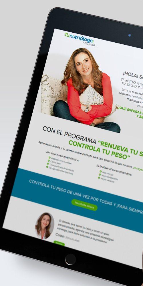 Diseño de página web landing page Nutrióloga