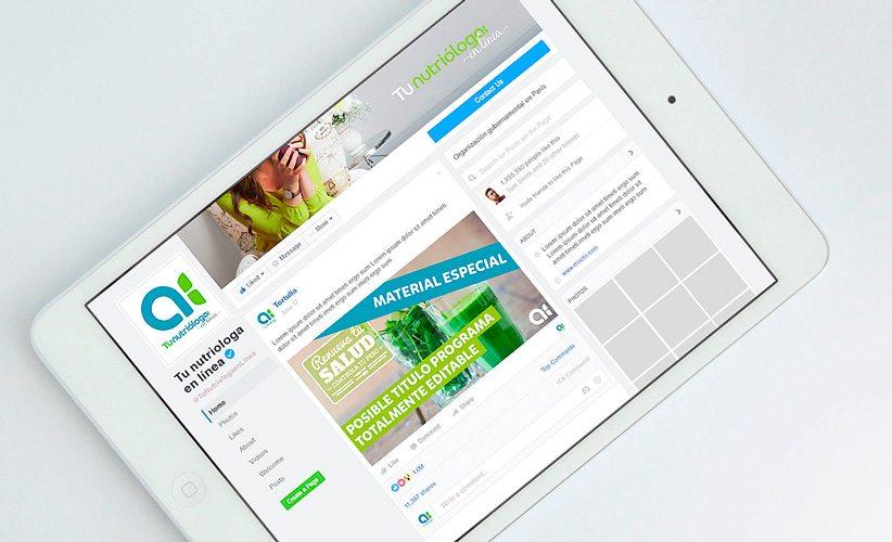 Diseño de Fanpage para Facebook Tu nutrióloga en línea ipad