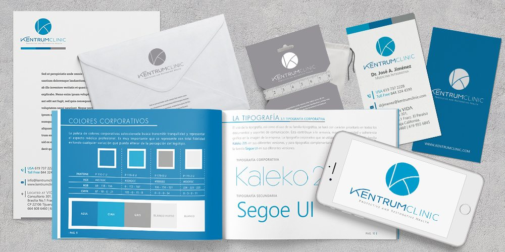 Diseño de identidad de corporativa Manual corporativo Clinica Kentrum