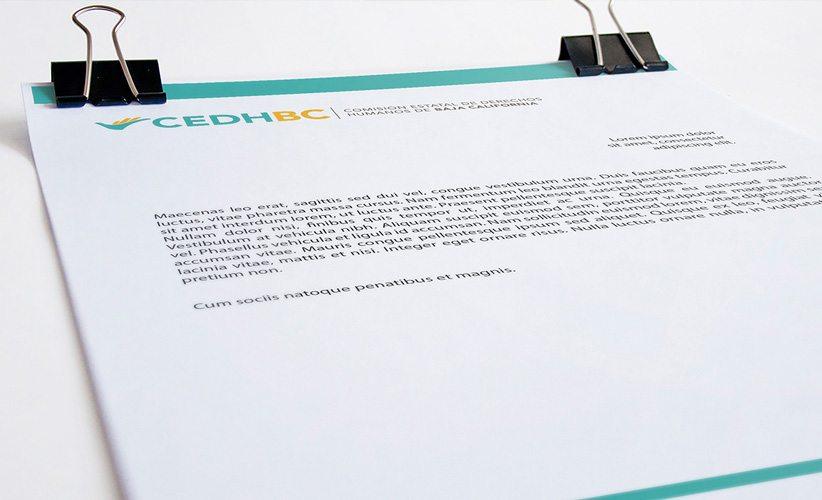 Papelería corporativa CEDH Baja California