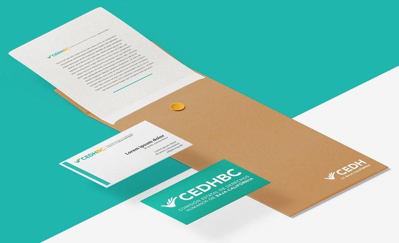 Papelería corporativa y tarjetas de presentación CEDH Baja California