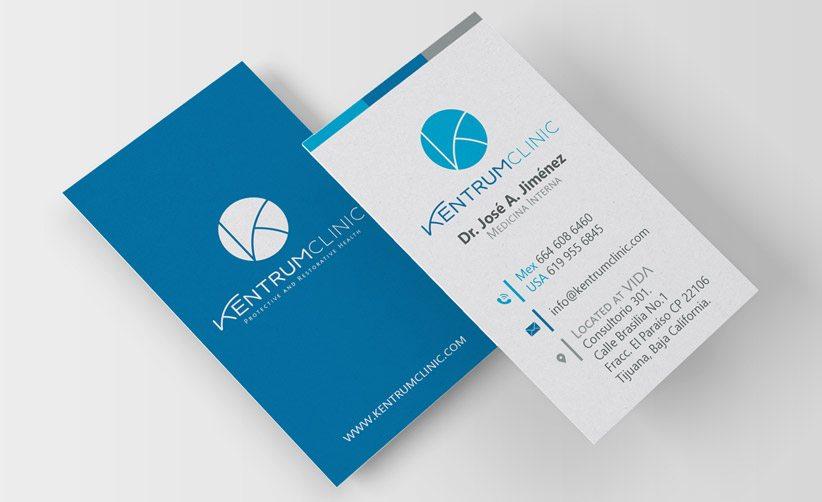 Diseño de tarjetas de presentación Kentrum Clinic Dr. José A. Jiménez