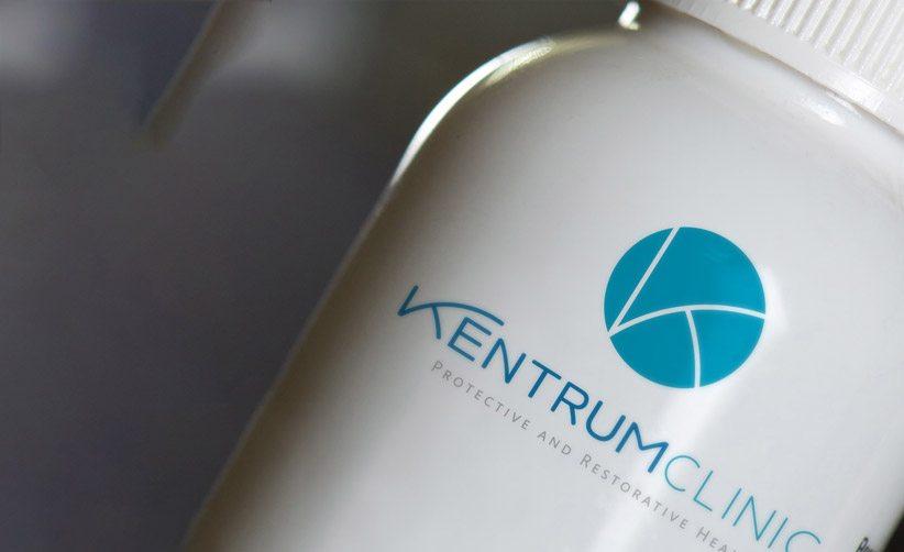 Diseño de logo Kentrum Clinic en frasco