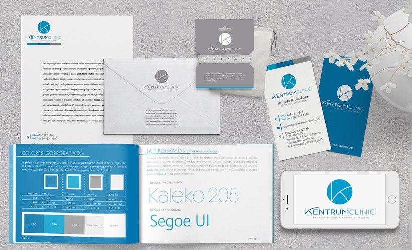 Diseño de identidad de corporativa Kentrum Clinic Manual Tarjetas Papelería