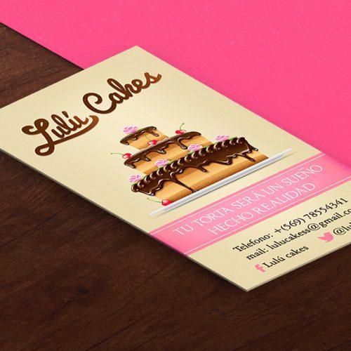 Diseño de tarjetas de presentación pastelería Lulú Cakes