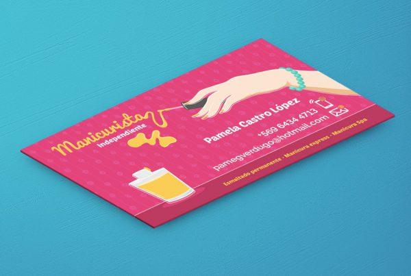 Diseño de tarjetas de presentación femeninas Manicurista uñas