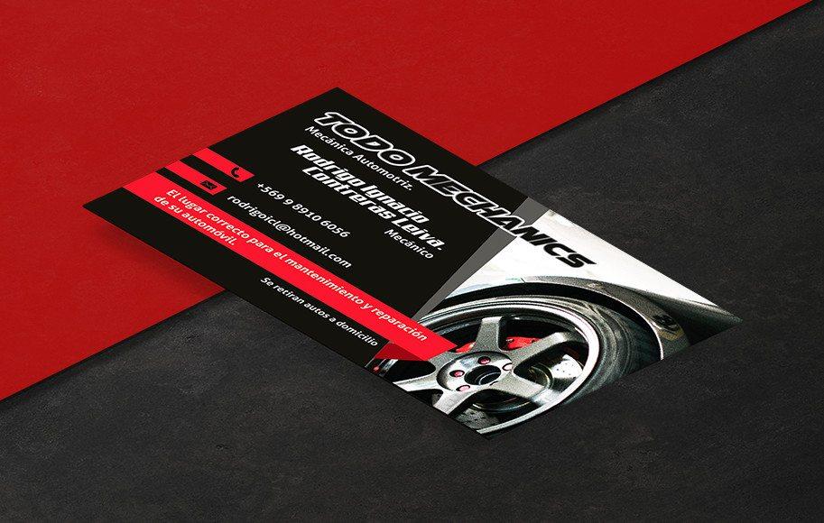 Diseño de tarjetas de presentación Mecánica Automotriz Todo Mechanics