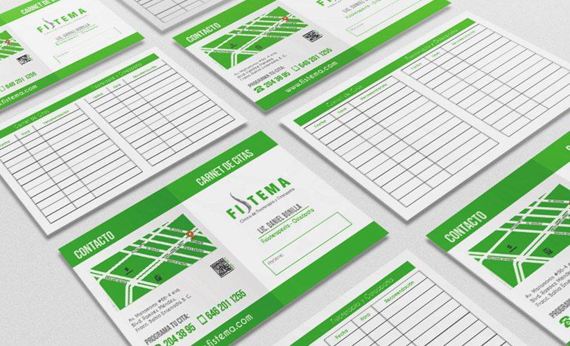 Diseño de papelería corporativa Clínica Fistema Carnet de citas