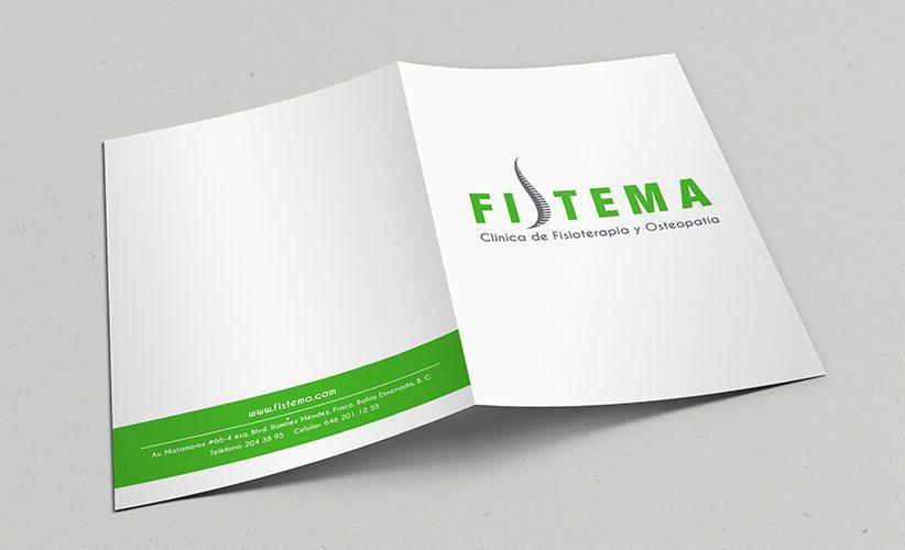 Diseño de papelería corporativa Clínica Fistema Carpetas