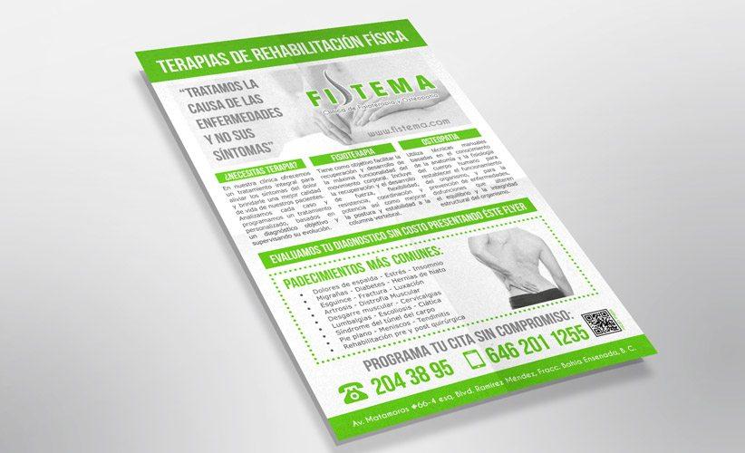Diseño de papelería corporativa Clínica Fistema Flyer