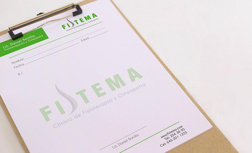 Diseño de papelería corporativa Clínica Fistema Recetario